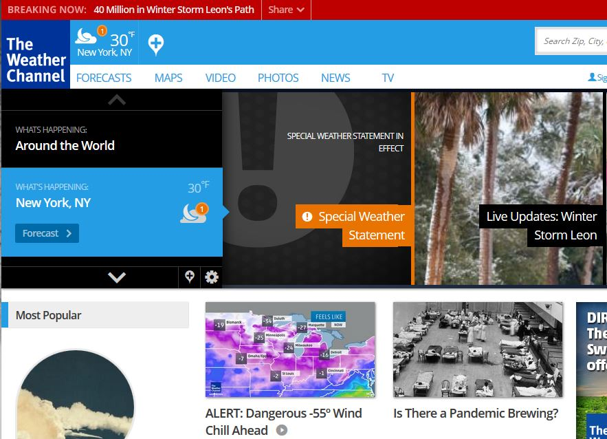 Weather Channel Home Page